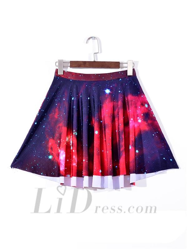 Свадьба - Digital Nebula Pleated Skirt Digital Print Skirt Skt1167