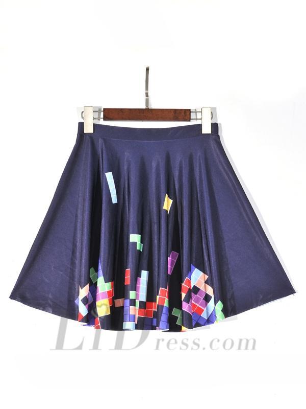 Mariage - Hot Womens Digital Printing Tetris Pleated Skirt Skt1165