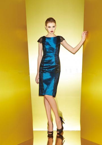 زفاف - Scoop Short Sleeves Lace Satin Knee Length Zipper