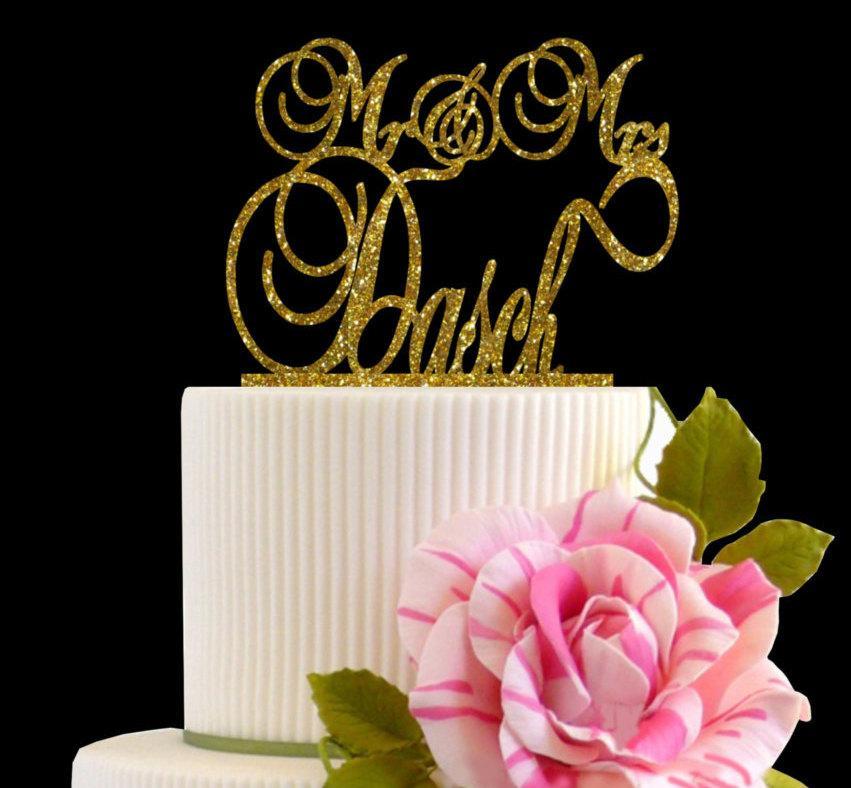Mariage - Wedding Cake Topper Mr & Mrs last name Topper