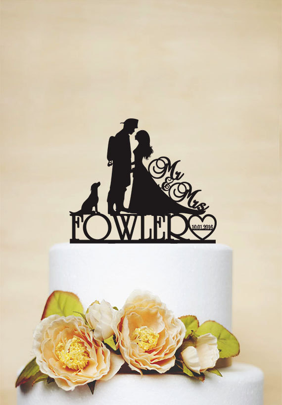 Wedding Cake Topper, Custom Cake Topper With Surname, Date And Dog ...
