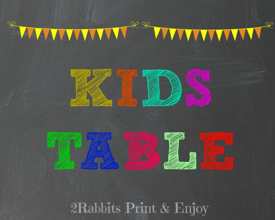 Mariage - Wedding Kids Table Sign Colorful  Chalkboard Rustic Wedding Children Table Sign  Wedding Friendly Table  Sign Instant Download