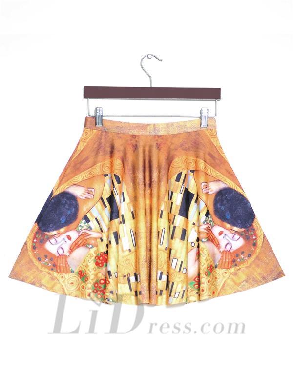 Wedding - Hot Kiss Pleated Digital Print Skirt Skt1163