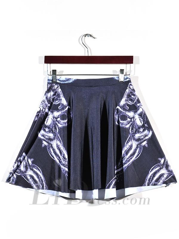 زفاف - New Hot Digital Printing Skirt White Skeleton Skt1154
