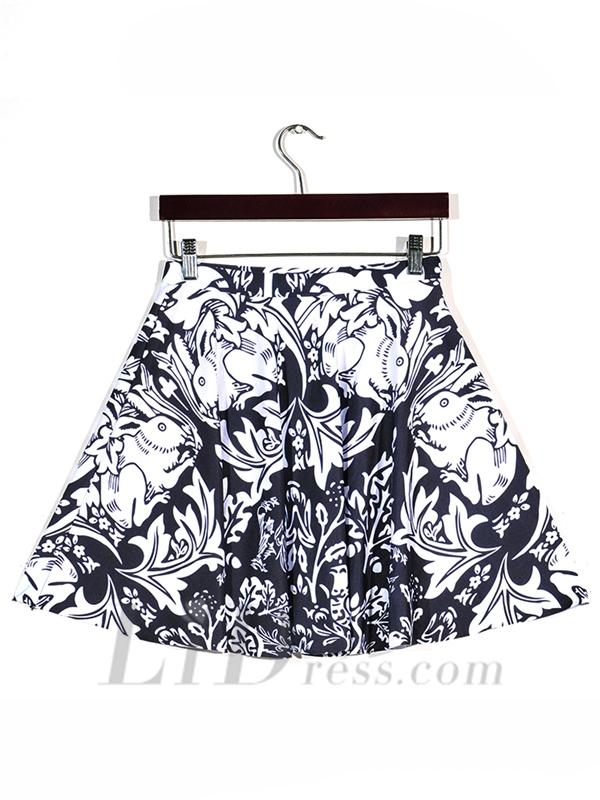 Boda - Retro Digital Printing Retro Pattern Pleated Skirts Skt1142