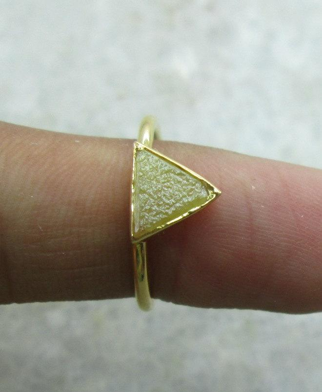 Hochzeit - Very Unique Raw Rough Triangle Diamond Ring in 14K Solid Yellow Gold Propose Ring