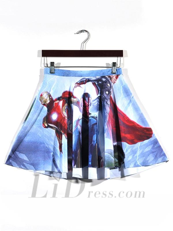Wedding - Hot Womens Digital Printing Avengers Pleated Skirt Skt1126