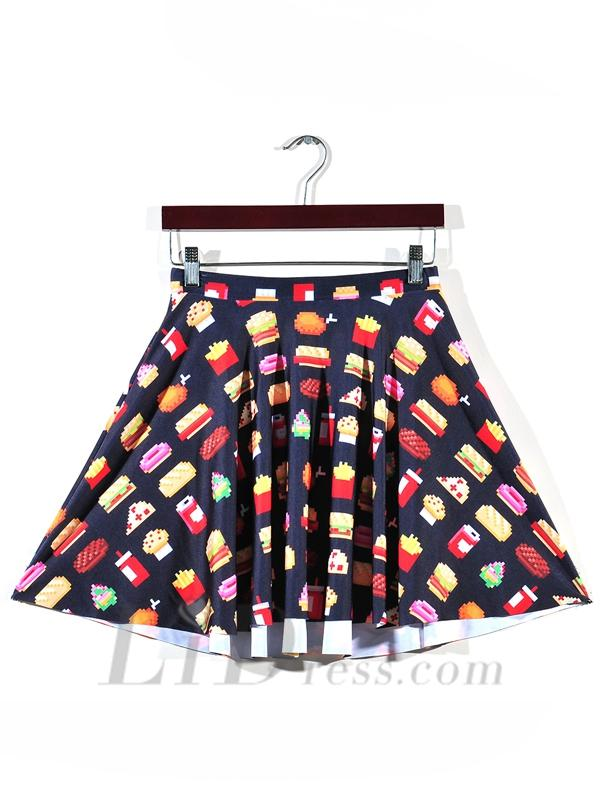 Wedding - Womens Boutique Fries Digital Print Pleated Skirt Skt1124