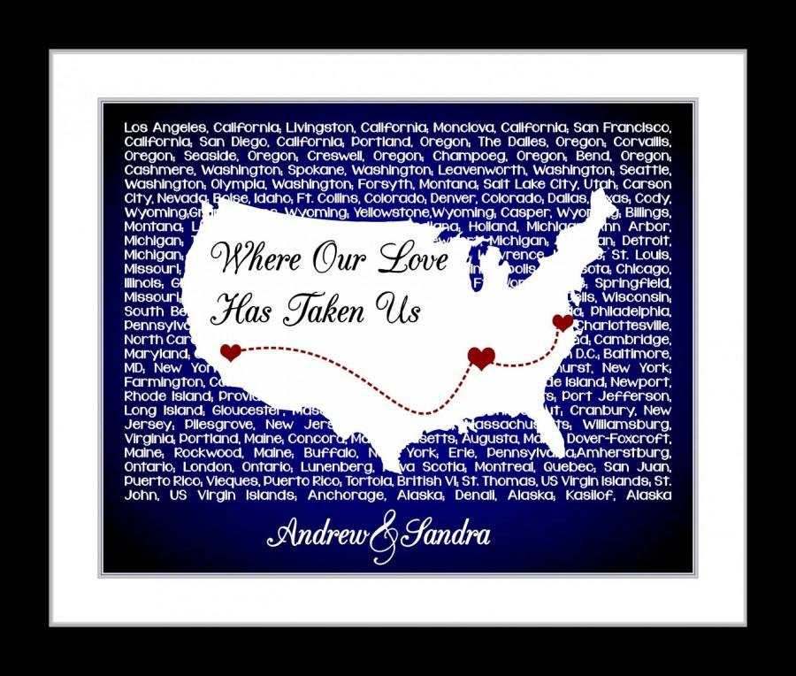 Personalized Usa Map.Anniversary Gift Us Lyrics Map Wall Art Personalized For Couples Who