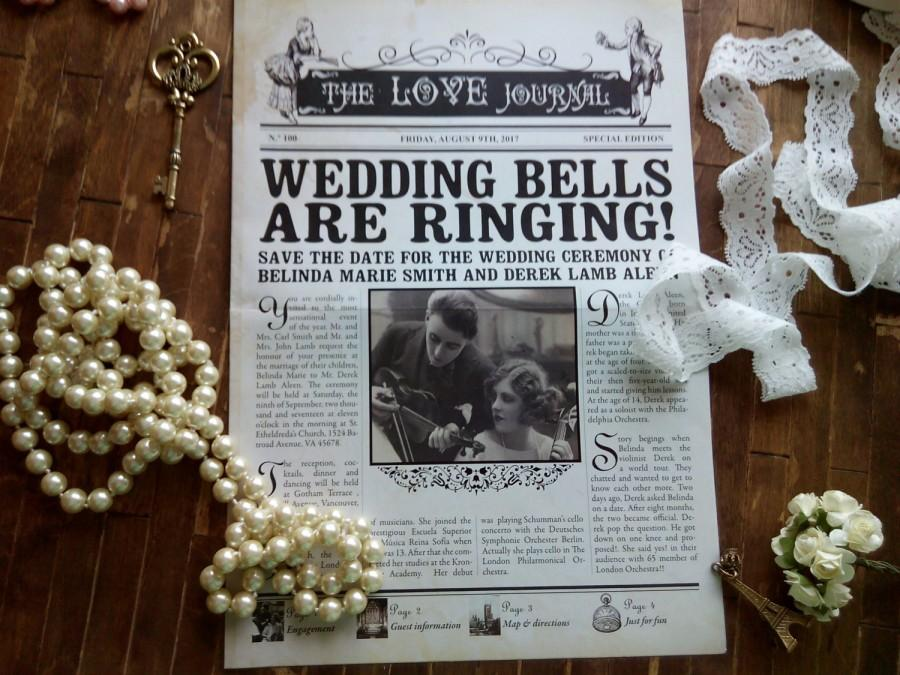SAMPLE Vintage Newspaper Invitation Save The Date Invites4 Pages Custom Inspired Gastby