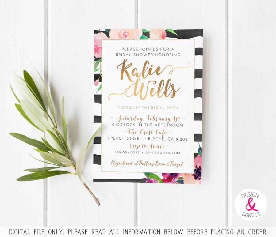 Hochzeit - Floral Bridal Shower Invitation, Pink, Black, Gold, Stripes, Watercolor [140]