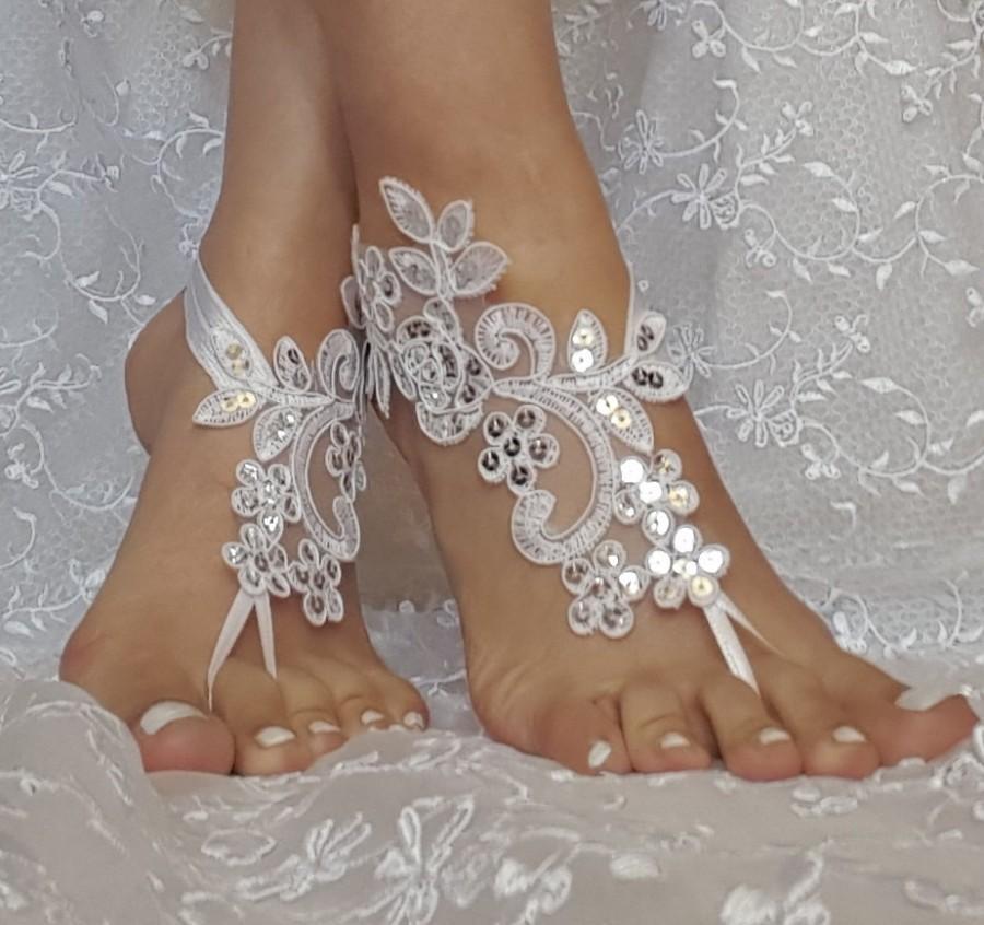 Mariage - White, champagne  or ivory bridal anklet,Beach wedding barefoot sandals, ,bangle, wedding anklet, free ship, anklet, bridal, wedding