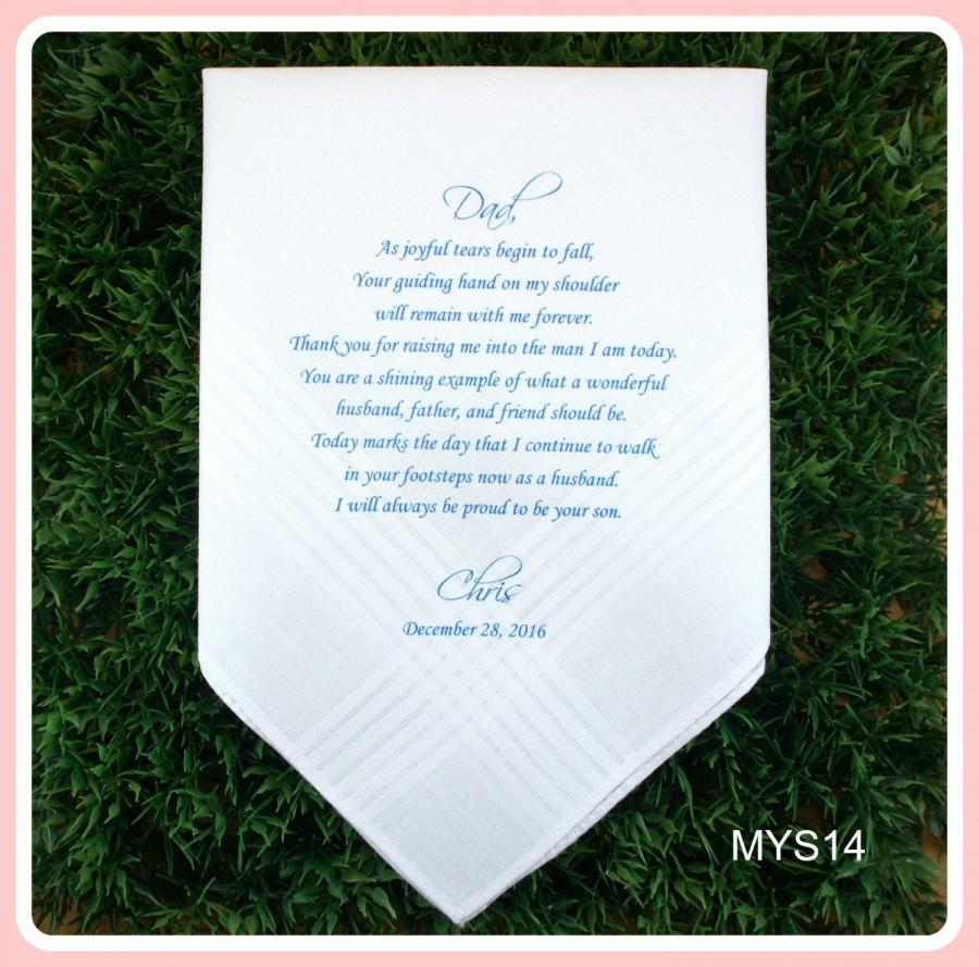 Mariage - Father of the Groom Hankerchief from the Groom-Wedding Handkerchief-PRINTED-CUSTOMIZE-Wedding hankies-Wedding Gift-Father of the groom gift