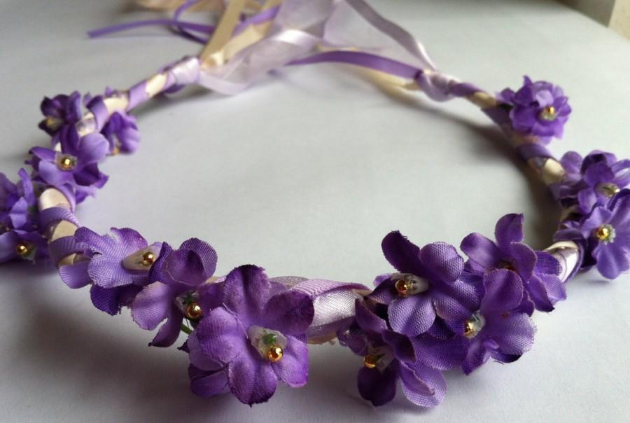 Mariage - 24 Flower Bridal, Bridesmaid, Flower Girl or Communion Floral Ribbon Crown Halo Head Piece Wreath Garland Purple Ivory C-Katie