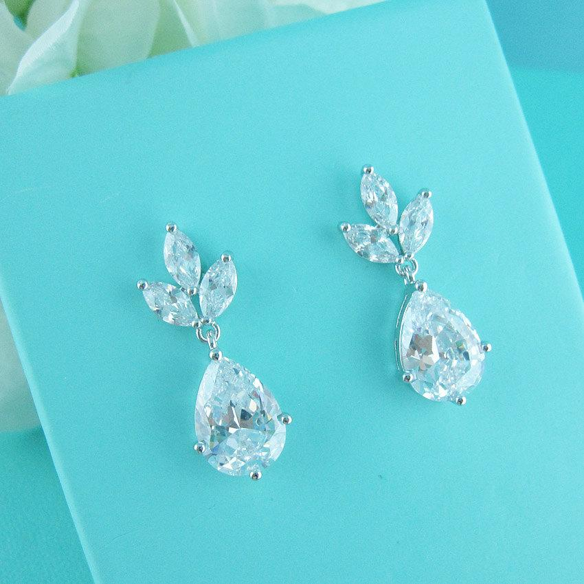 Cz Dangle Earrings Pear Cubic Zirconia Wedding Bridal Jewelry Teardrop 244647012