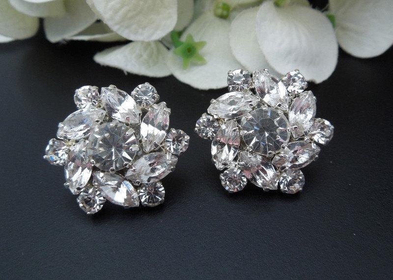 Bridal Earrings Rhinestone Stud Statement Wedding Bride Natalee