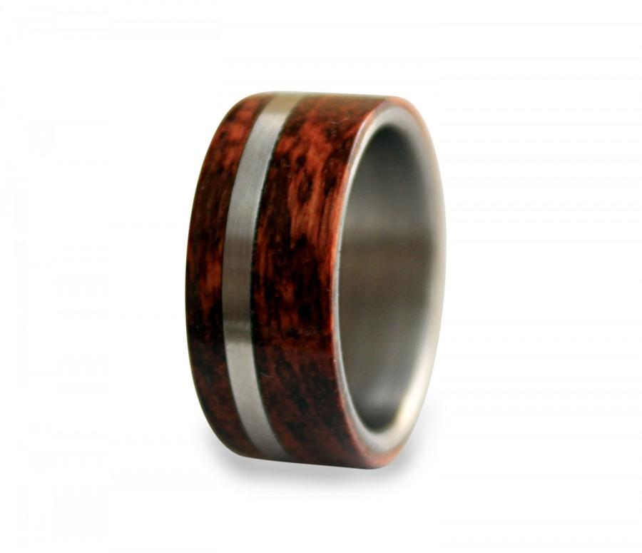 Wedding - Titanium mens ring off-center band with snakewood