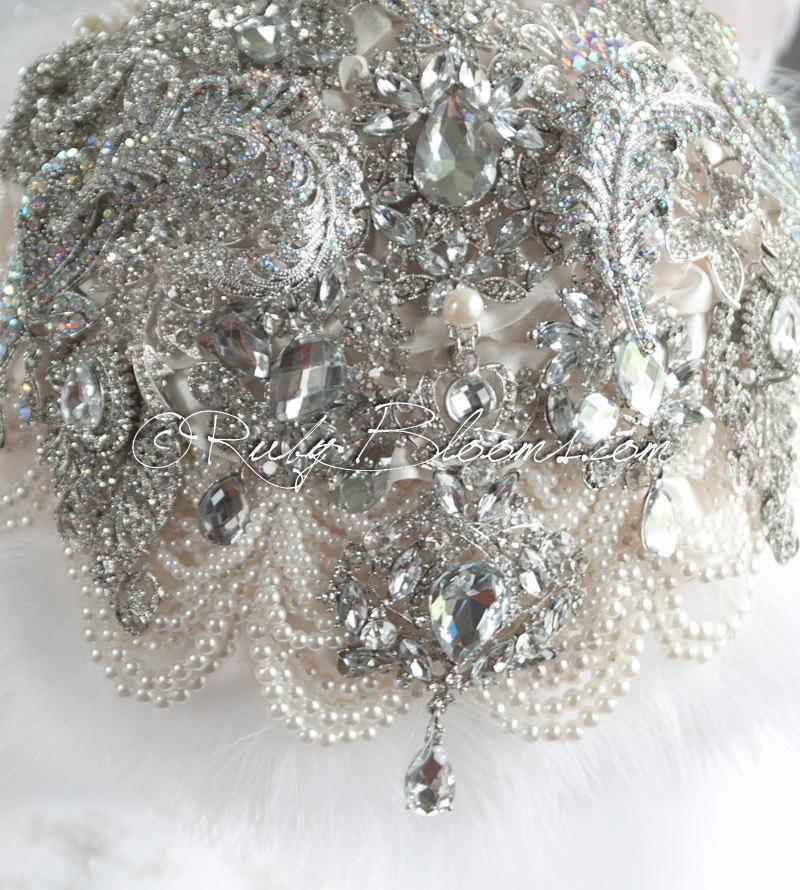 Mariage - Art Deco Wedding Brooch Bouquet. Crystal Winter Wedding Broach Bouquet, Deposit on Rhinestone Bridal Broach Bouquet - Ruby Blooms Jewelry