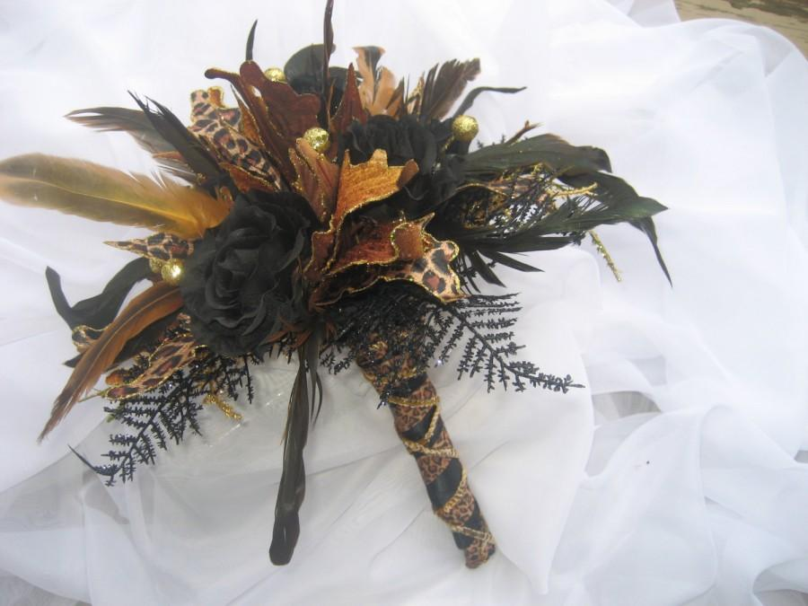 Hochzeit - Leopard Bouquet / Wedding Bouquet Black and Gold