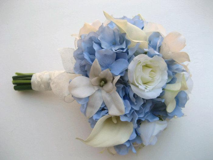 Mariage - Wedding Bouquet Blue And White  / BlueHydrangeas, Calla lilies, Roses and Orchids