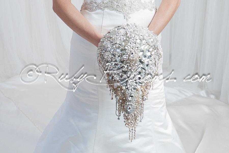 Cascading Silver Gold Wedding Brooch Bouquet Wedding Mirror Iii