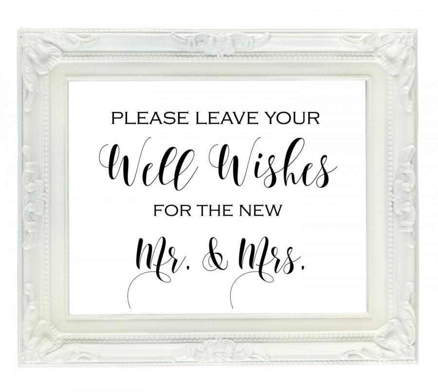 Well Wishes For The New Mr. & Mrs. Sign, Wedding Guest Book Sign, Wedding Advice Sign, Printable ...