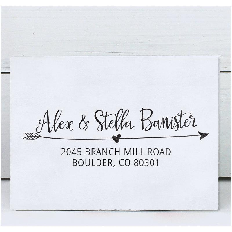 Mariage - Custom Address Stamp, Return Address Stamp, DIY Wedding address stamp, Calligraphy Address Stamp, Self inking or Eco Mount stamp - Stella
