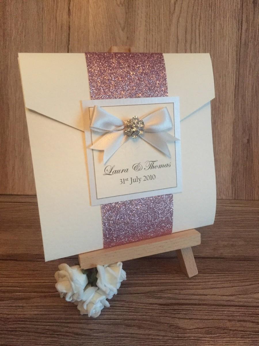 Glitter Wrap Pocketfold Wedding Invitation Holly Style Stationery ...