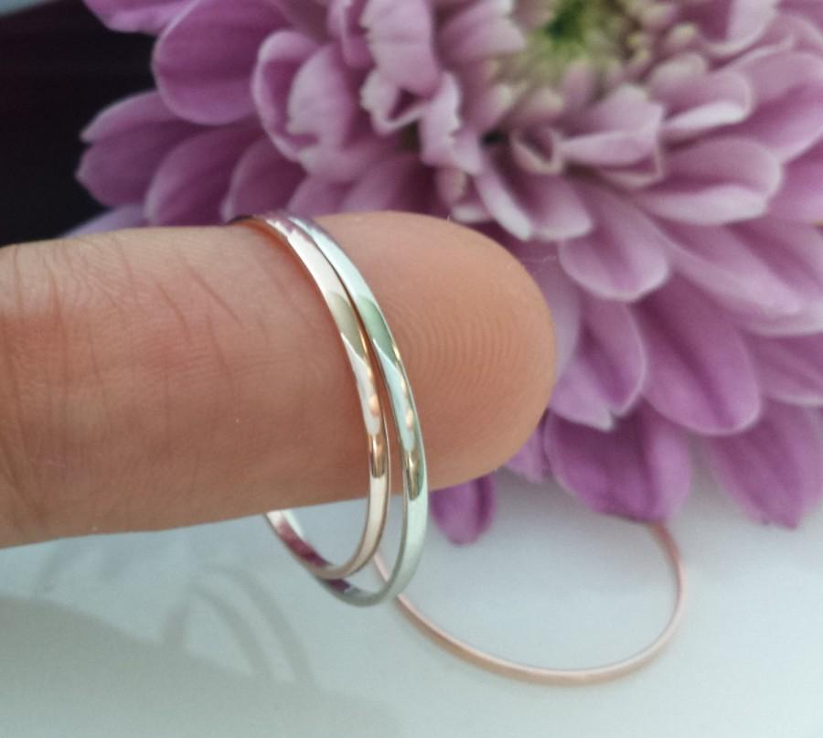 e8a99fbcf4c2f0 18kt 14kt Solid Rose Gold wedding band spacer ring 1mm thin skinny yellow  gold white gold platinum wedding narrow palladium domed beveled