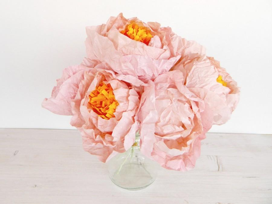 Mariage - Five pieces of light pink paper peonies, Paper flower peonies, paper peonies, pink peony, handmade flowers