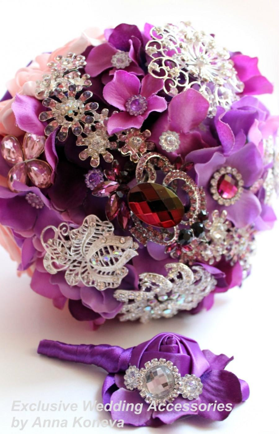 Mariage - Wedding bouquet Purple brooch bouquet Pink bridal brooch bouquet Wedding accessories Eggplant purple bouquet Pink brooch bouquet Roses