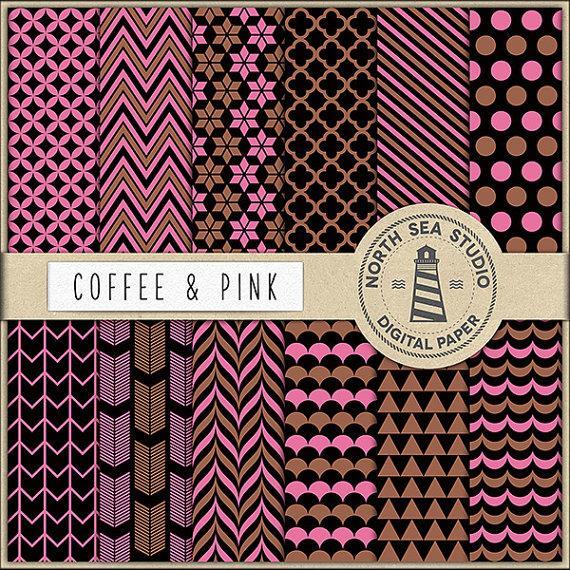 زفاف - Coffee And Pink Digital Paper Pack