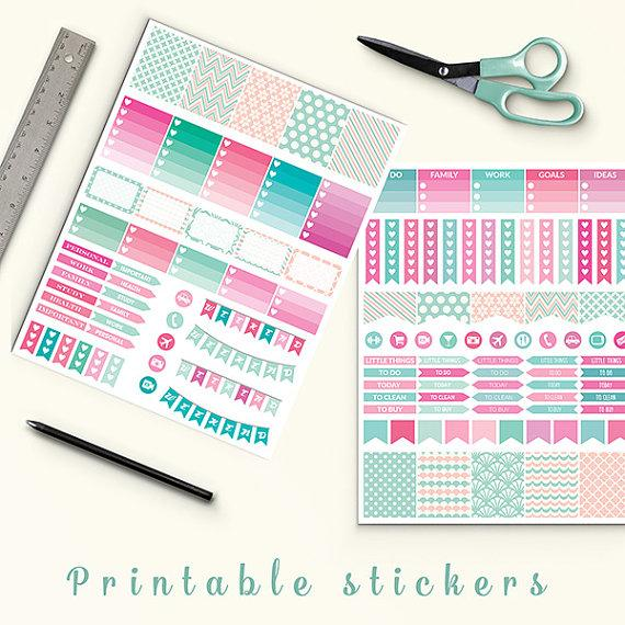 50 Off Sale Pink Mint Planner Stickers Printable Planner Stickers