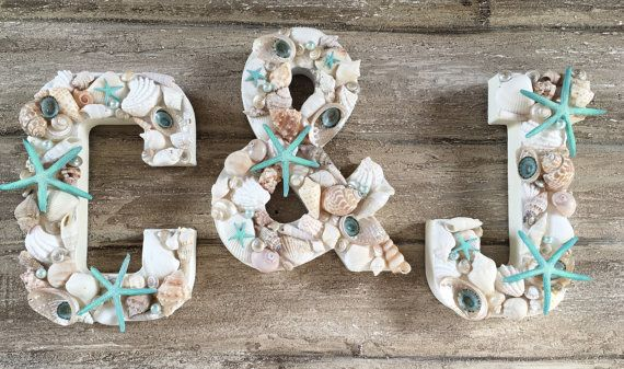 Hochzeit - Shell Letters, Shell Initials, Seashell Letters, Beach Wedding Decor, Set Of 3