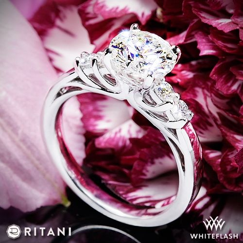 Hochzeit - 14k White Gold Ritani 1RZ2716 Diamond Engagement Ring