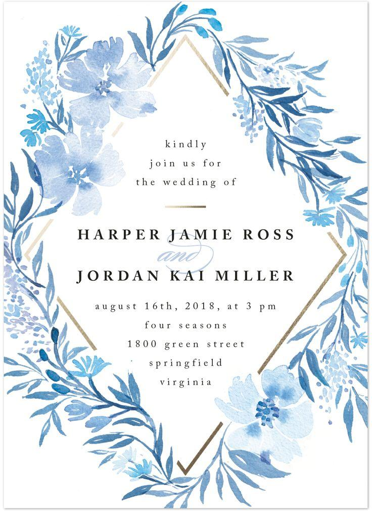 """Hochzeit - """"Poetic Blue"""" - Customizable Wedding Invitations In Blue Or White By Qing Ji"""