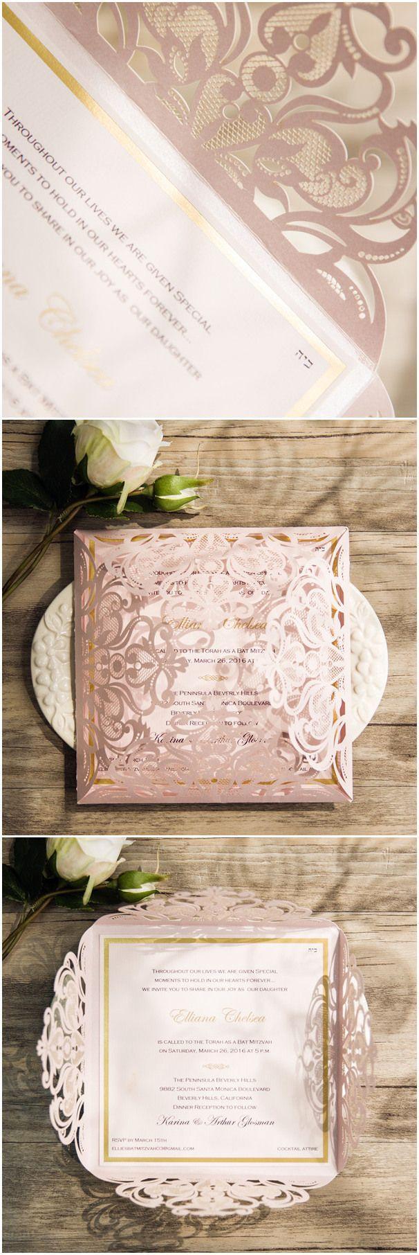 Mariage - Romantic Blush Pink Laser Cut Gold Foil Stamped Wedding Invitations EWWS110