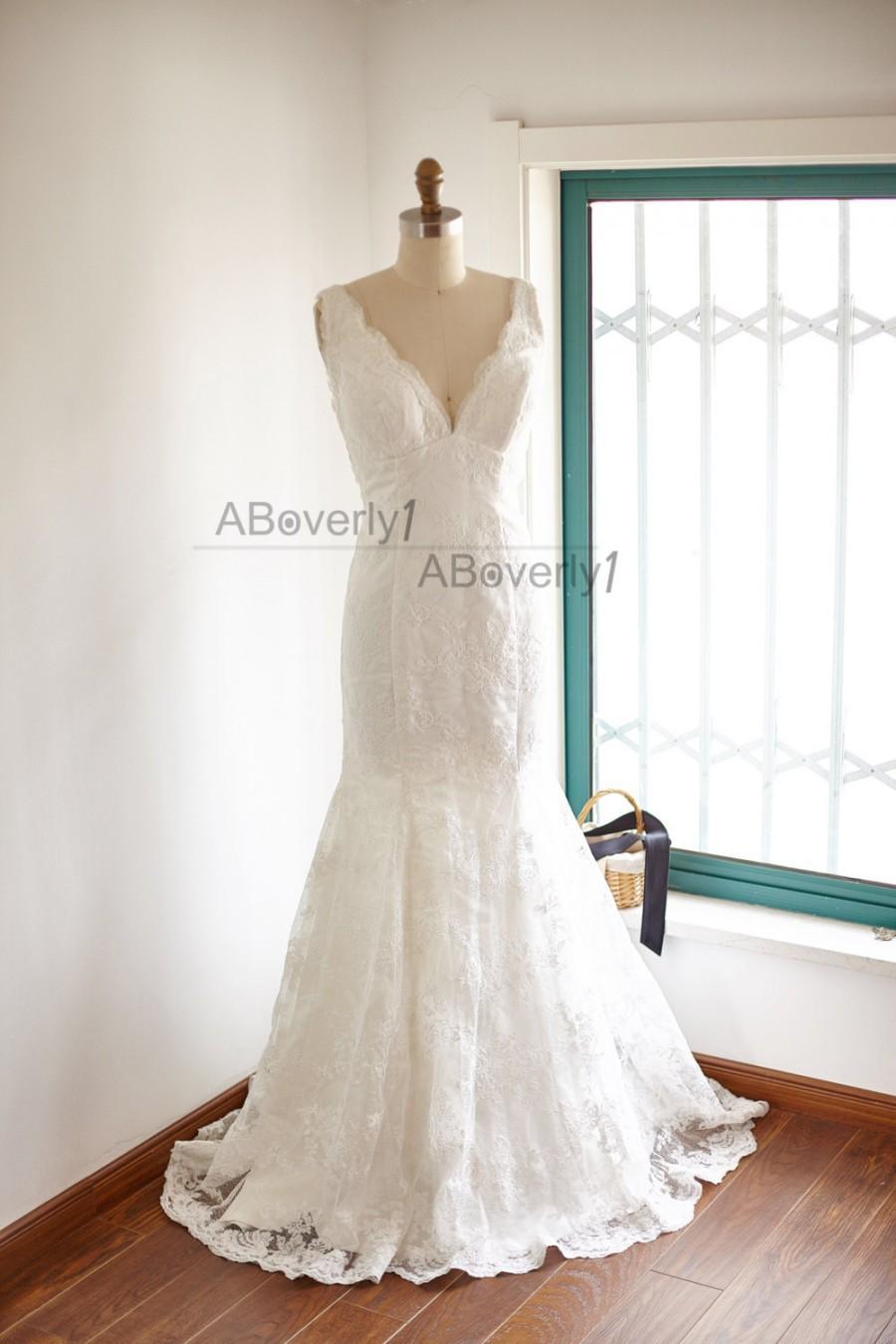 Свадьба - V Neckline Mermaid Lace Wedding Dress Deep V Back Bridal Gown