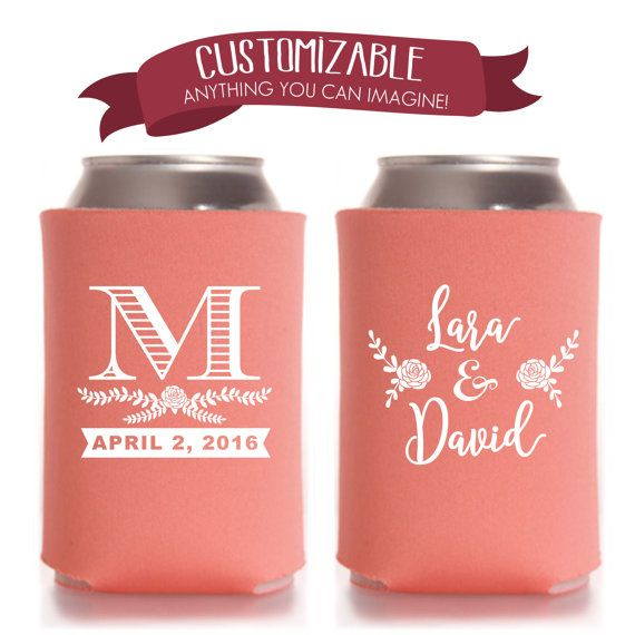 Personalized Monogrammed Can Cooler Monogram Wedding Favors