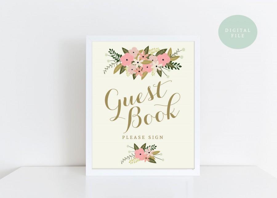 زفاف - PRINTABLE Guest Book Sign Printable // Vintage Wedding Sign // Pink Floral Wedding Sign // INSTANT DOWNLOAD
