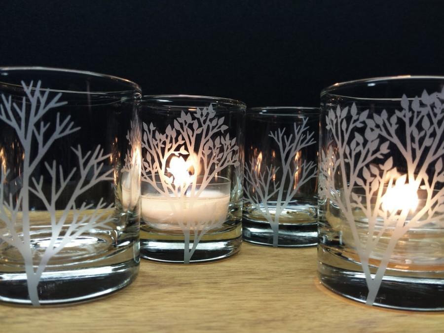 زفاف - 4 Woodland Candle Holders Home Decor Cabin Decorations Table Decor Engraved Glass Candles