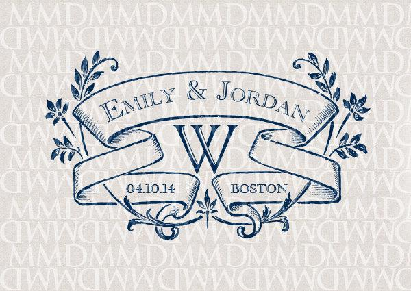 Ivy League Custom Wedding Monogram Wedding Logo Wedding Crest