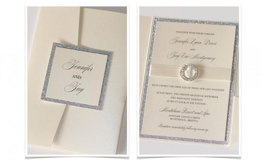 Glitter Wedding Invitation, Elegant Wedding Invitation, Vintage ...