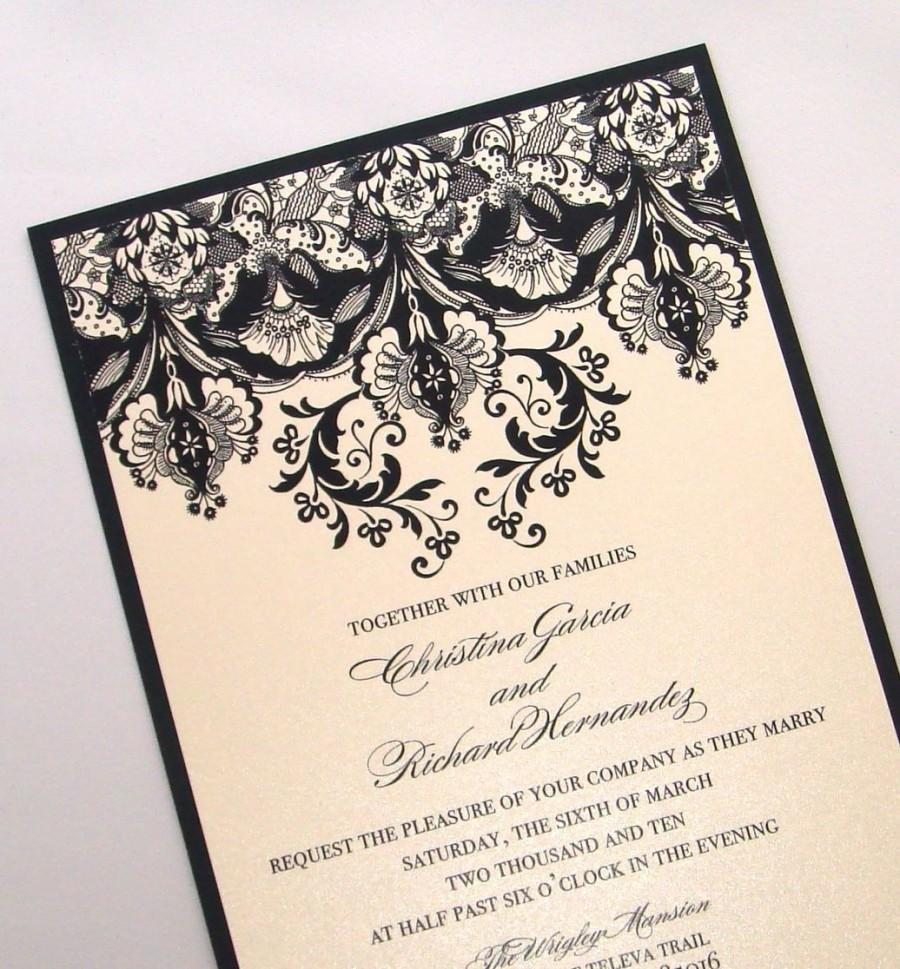 Damask wedding invitation elegant wedding invitation floral damask wedding invitation elegant wedding invitation floral wedding invitation vintage invitation black ivory christina sample stopboris Images