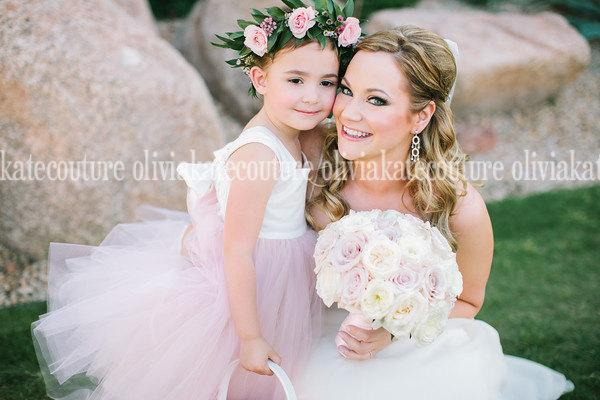 Mariage - Flower Girl Dress PINK BLUSH Dress