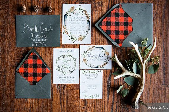 woodsy rustic wedding invitation set with invitations rsvp cards