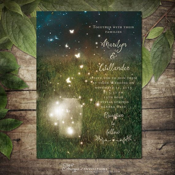 Wedding - Rustic Garden Lights Wedding Invitation, Mason Jar Wedding Invitation, Firefly Wedding Invitation, Summer Wedding, Printable Wedding Invite