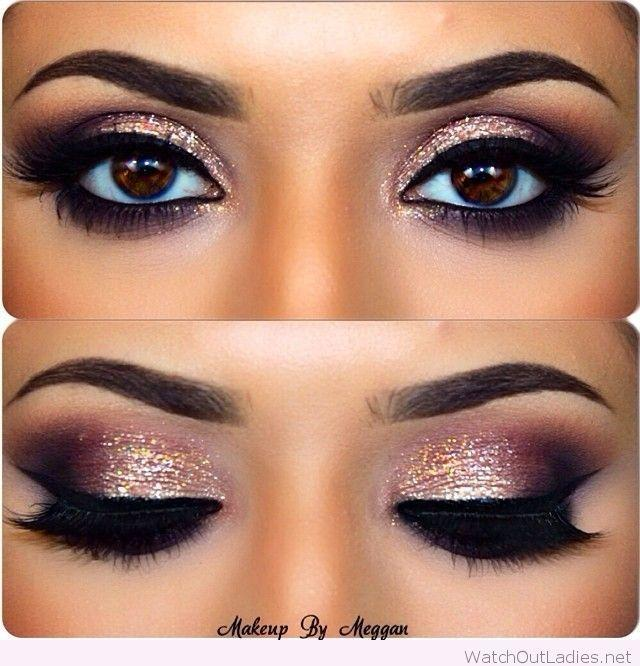 Свадьба - Gold And Burgundy Eye Makeup With Black Details