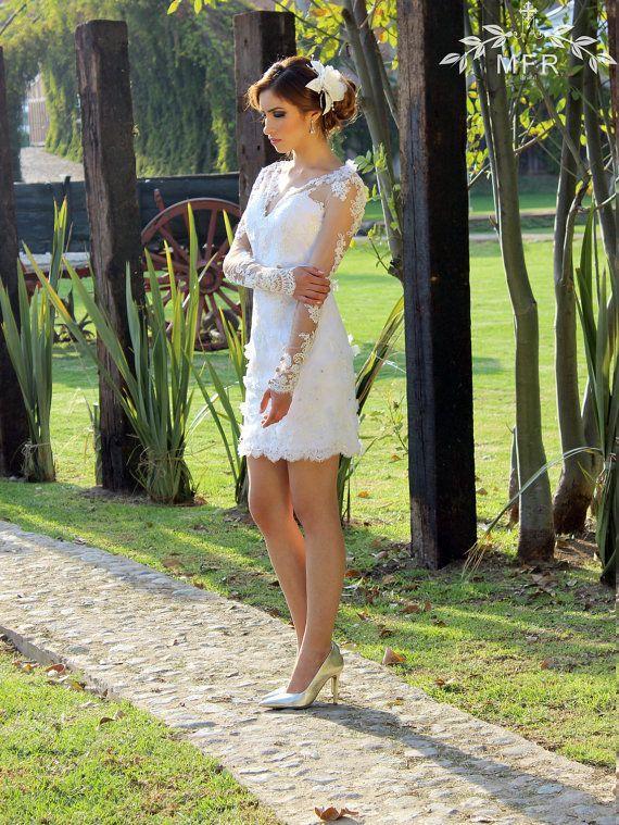 زفاف - Short Lace Wedding Dress Wtih Sleeves, Beach Wedding Dress, Short White Dress, Reception Wedding Dress, Casual Wedding Dress