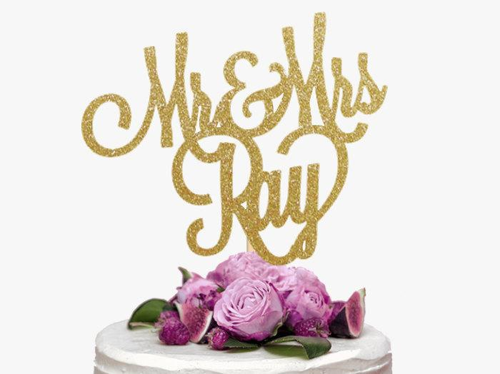 Mr Amp Mrs Last Name Cake Topper Personalized Wedding Cake Topper Custom Wedding Cake Topper